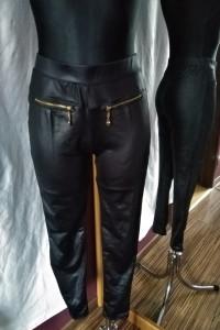 Czarne legginsy ze złotymi zamkami a la skóra cyrkonie XJ BOOST