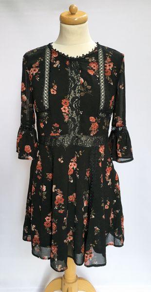 Suknie i sukienki Sukienka Kwiaty H&M L 40 Rozkloszowana Czarna Elegancka