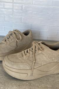 Zara skórzane kremowe beżowe adidasy sneakersy platformy
