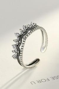 Nowy srebrny pierścionek srebro 925 postarzane korona cyrkonie ...