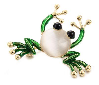 Broszki Nowa broszka żaba żabka złoty kolor biały zielony retro pin up