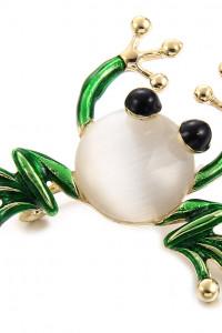 Nowa broszka żaba żabka złoty kolor biały zielony retro pin up...