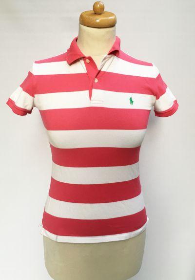 Bluzki Koszulka Polo Ralph Lauren Paski Różowa Biała XS 34 RL