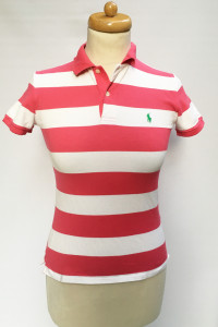 Koszulka Polo Ralph Lauren Paski Różowa Biała XS 34 RL