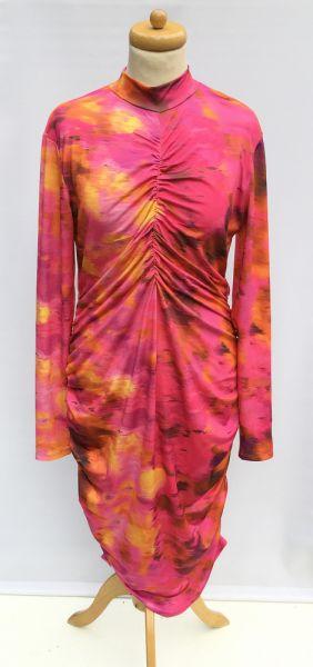 Suknie i sukienki Sukienka Wzory Bik Bok XL 42 Marszczona Ołówkowa Golf