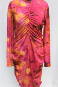 Sukienka Wzory Bik Bok XL 42 Marszczona Ołówkowa Golf