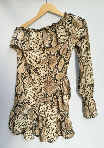 Suknie i sukienki Sukienka Skóra Węża Missguided XS 34 Jedno Ramię Falbanka