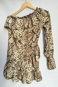 Sukienka Skóra Węża Missguided XS 34 Jedno Ramię Falbanka...