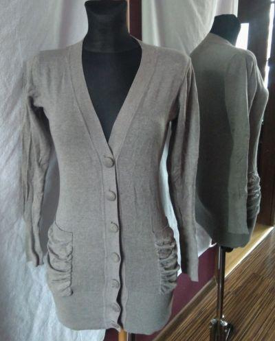 Swetry Długi szary sweter guziki kieszenie kardigan popiel dekolt