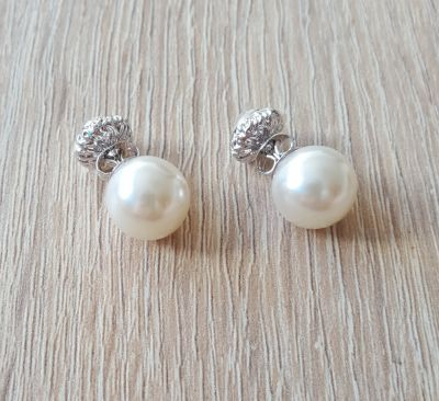 Kolczyki Nowe kolczyki srebrny kolor kremowa perła białe cyrkonie podwójne