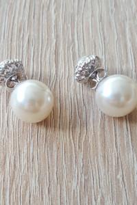 Nowe kolczyki srebrny kolor kremowa perła białe cyrkonie podwójne