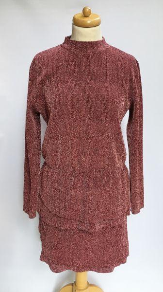 Suknie i sukienki Sukienka Brokatowa Różowa Falbanka Jacqueline De Young L 40
