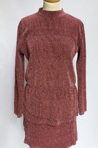 Sukienka Brokatowa Różowa Falbanka Jacqueline De Young L 40