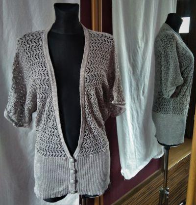 Swetry Piękny szary sweter narzutka ze srebrną nitką Cubus L błysk