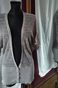 Piękny szary sweter narzutka ze srebrną nitką Cubus L błysk...