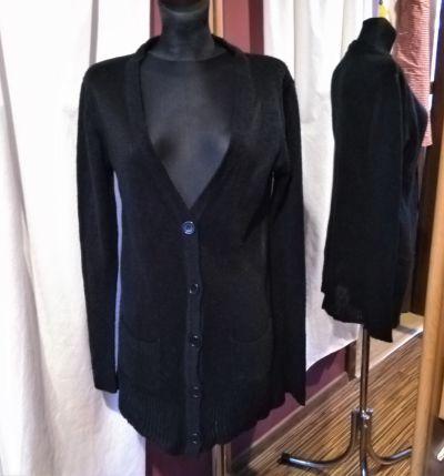 Swetry Cienki czarny sweter zapinany na guziki French Connection L
