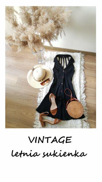 Suknie i sukienki Letnia vintage sukienka XS S na guziki czarna basic minimalizm