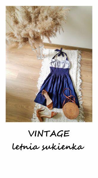 Suknie i sukienki Vintage letnia sukienka S M rozkloszowana wiązana na szyi