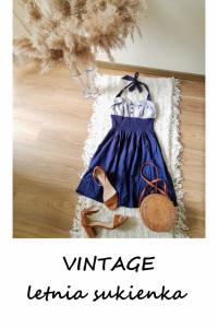 Vintage letnia sukienka S M rozkloszowana wiązana na szyi