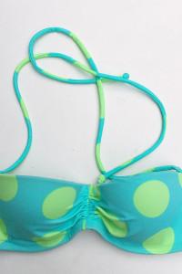 Strój Kostium Kąpielowy 75A Victoria s Secret 34A GÓRA Kropki ZIelony