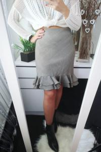 American Living Spódnica damska w kratkę z falbanką L