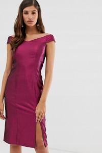 Metaliczna błyszcząca świecąca obcisla sukienka odkryte ramiona z rozcieciem