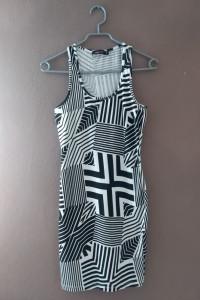 letnia sukienka mini w geometryczne wzory S...