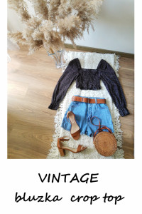 Vintage crop top Shein bluzka w kropki balonowe rękawy S...