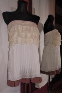 Biało kremowo brązowa plisowana sukienka z koronką nowa tuba...