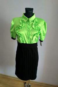 Nowa neonowa sukienka koszulowa guziki falbany retro vintage...
