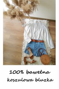 Biała koszulowa bluzka ze stójką vintage bawełna bawełniana elegancka