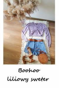 Liliowy sweter Boohoo oversize crop krótki sweterek one size