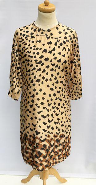 Suknie i sukienki Sukienka Panterka Cętki Beżowa M 38 Prosta Elegancka