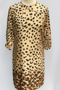 Sukienka Panterka Cętki Beżowa M 38 Prosta Elegancka