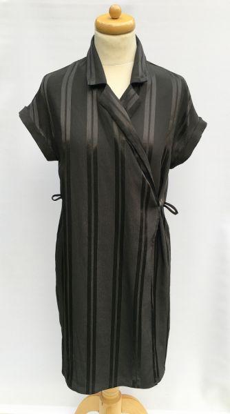 Suknie i sukienki Sukienka Czarna Paski Kołnierzyk Paseczki Monki XS 34