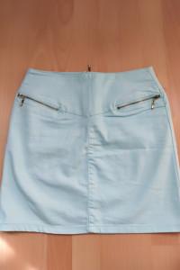 Miętowa spódnica mini z zamkami 38 M...