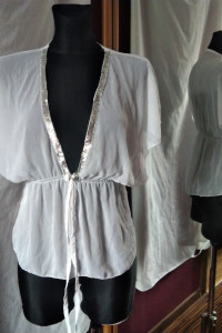 Piękna zwiewna biała bluzka mgiełka cekiny Evita S M...
