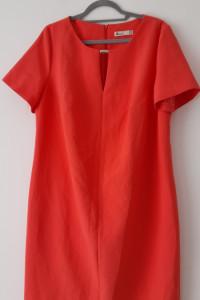 Łososiowa elegancka prosta sukienka midi 50...