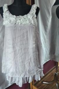 Szara sukienka tunika przeplatana srebrną nitką z różami róże ZOE rozmiar M L