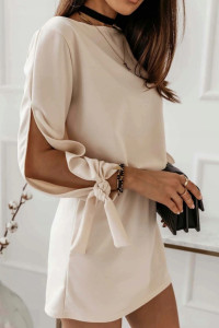 Sukienka mini ołówkowa casual beżowa na gumce S M L...