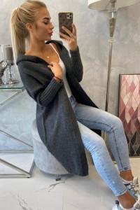 Długi kardigan damski z kapturem sweter grafitowy...