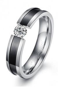 Nowy pierścionek srebrny kolor czarny biała cyrkonia stal szlachetna