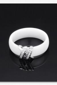 Nowy pierścionek ceramiczny biały szeroki obrączka ozdoba srebrny kolor cyrkonie