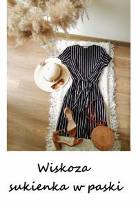 Czarna sukienka w białe paski wiskoza S M L ozdobne wiązanie...