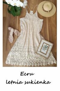 Ecru szydełkowa sukienka na ramiączkach koronkowa 42 44