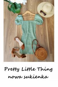 Nowa miętowa sukienka z bufkami XS S bawełna Pretty Little Thin...