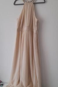 Jasnoróżowa zwiewna sukienka maxi 44...