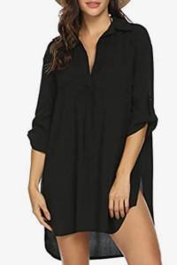 Długa czarna plażowa koszulapod bikini S...