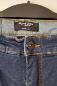 House Granatowe męskie jeansy z wysokim stanem W 34 L32...