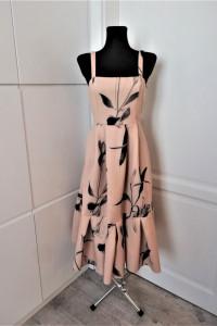 Piękna morelowa sukienka midi w kwiaty Asos piankowa...
